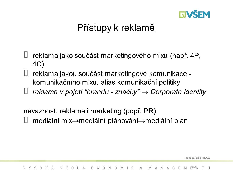 63 Přístupy k reklamě ➡ reklama jako součást marketingového mixu (např.