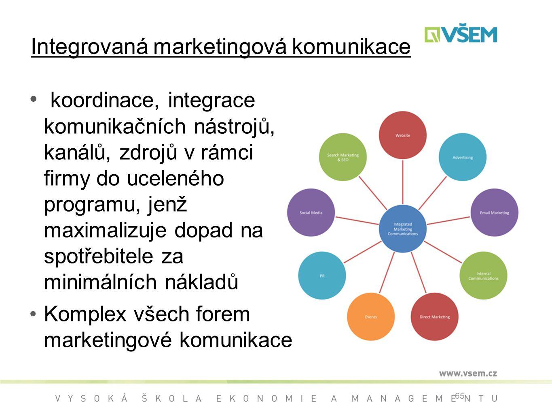 Integrovaná marketingová komunikace koordinace, integrace komunikačních nástrojů, kanálů, zdrojů v rámci firmy do uceleného programu, jenž maximalizuje dopad na spotřebitele za minimálních nákladů Komplex všech forem marketingové komunikace 65