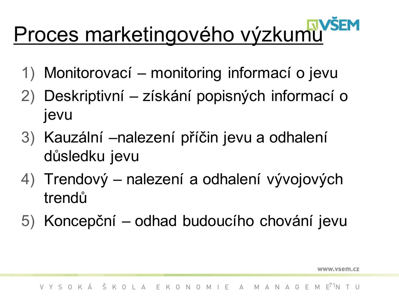 1)Monitorovací – monitoring informací o jevu 2)Deskriptivní – získání popisných informací o jevu 3)Kauzální –nalezení příčin jevu a odhalení důsledku jevu 4)Trendový – nalezení a odhalení vývojových trendů 5)Koncepční – odhad budoucího chování jevu 71 Proces marketingového výzkumu