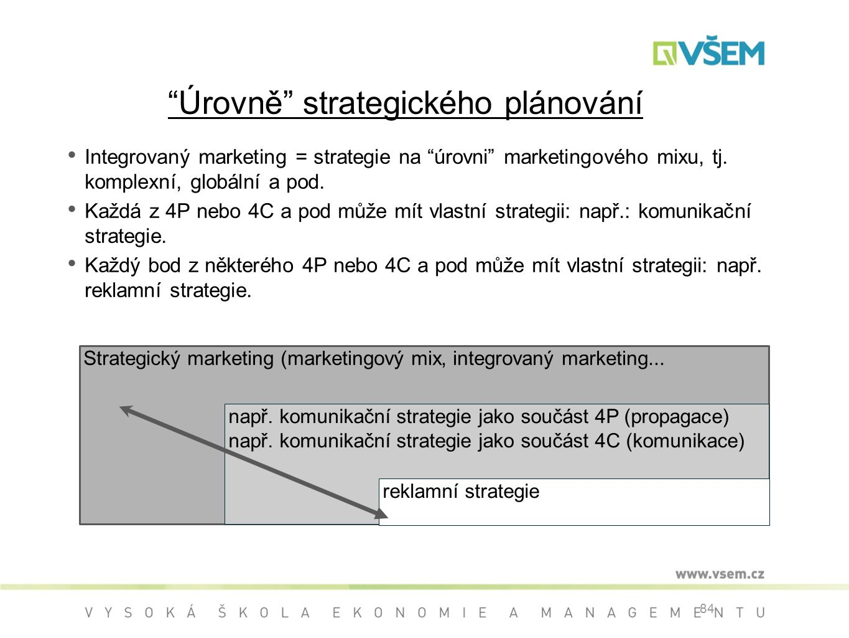84 Úrovně strategického plánování Integrovaný marketing = strategie na úrovni marketingového mixu, tj.