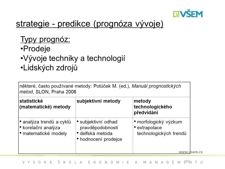92 strategie - predikce (prognóza vývoje) některé, často používané metody: Potůček M.