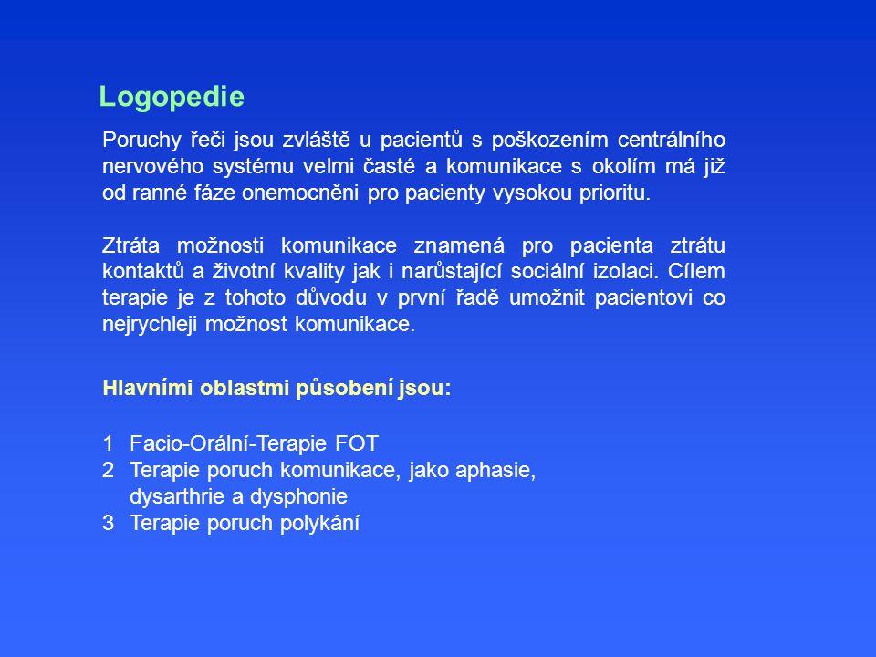 Logopedie Hlavními oblastmi působení jsou: Poruchy řeči jsou zvláště u pacientů s poškozením centrálního nervového systému velmi časté a komunikace s
