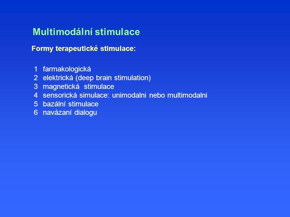 Multimodální stimulace farmakologická elektrická (deep brain stimulation) magnetická stimulace sensorická simulace: unimodalni nebo multimodalni bazální stimulace navázaní dialogu Formy terapeutické stimulace: 123456123456