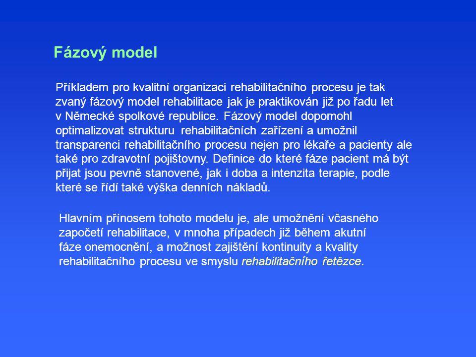 Fázový model Příkladem pro kvalitní organizaci rehabilitačního procesu je tak zvaný fázový model rehabilitace jak je praktikován již po řadu let v Něm