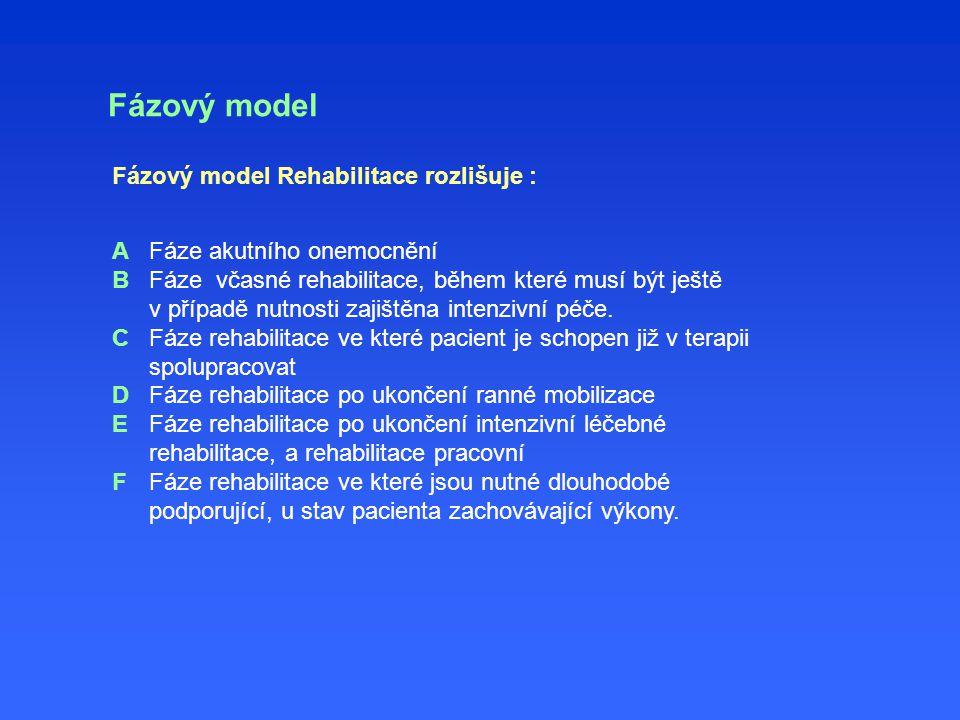 Fázový model Fáze akutního onemocnění Fáze včasné rehabilitace, během které musí být ještě v případě nutnosti zajištěna intenzivní péče. Fáze rehabili