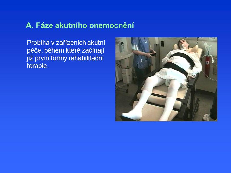 A. Fáze akutního onemocnění Probíhá v zařízeních akutní péče, během které začínají již první formy rehabilitační terapie.