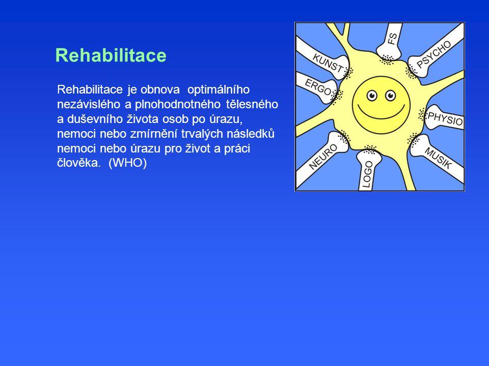 Rehabilitace Rehabilitace je obnova optimálního nezávislého a plnohodnotného tělesného a duševního života osob po úrazu, nemoci nebo zmírnění trvalých následků nemoci nebo úrazu pro život a práci člověka.