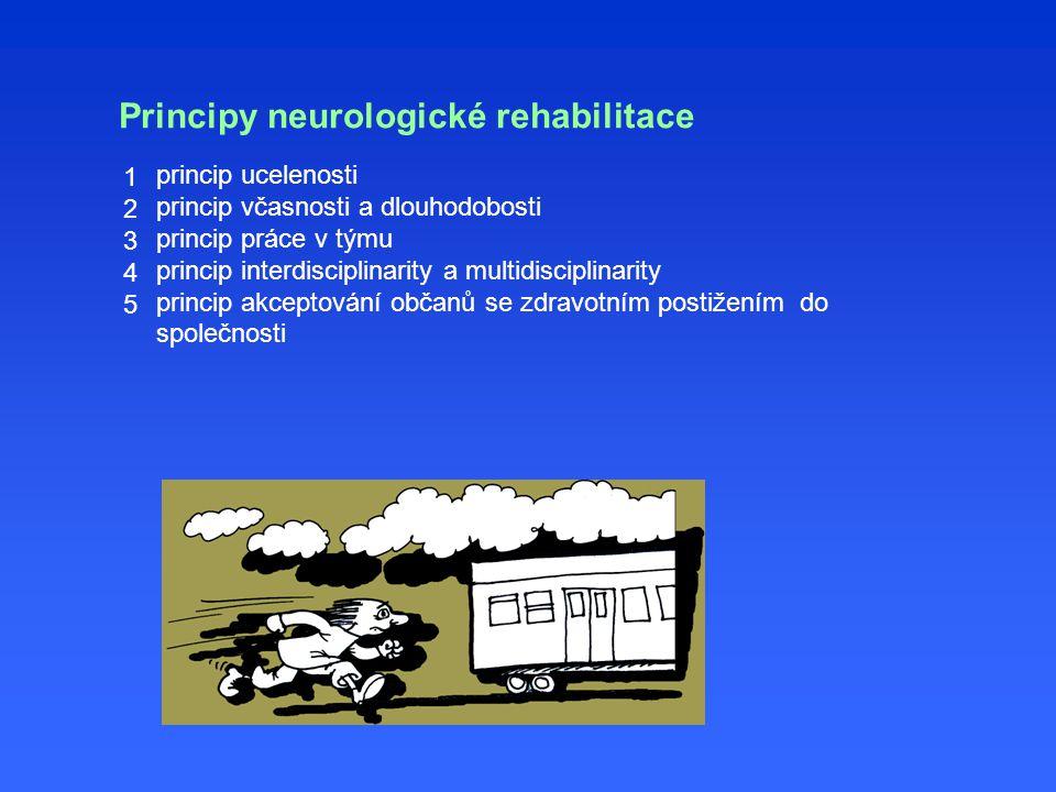 Principy neurologické rehabilitace princip ucelenosti princip včasnosti a dlouhodobosti princip práce v týmu princip interdisciplinarity a multidisciplinarity princip akceptování občanů se zdravotním postižením do společnosti 1234512345
