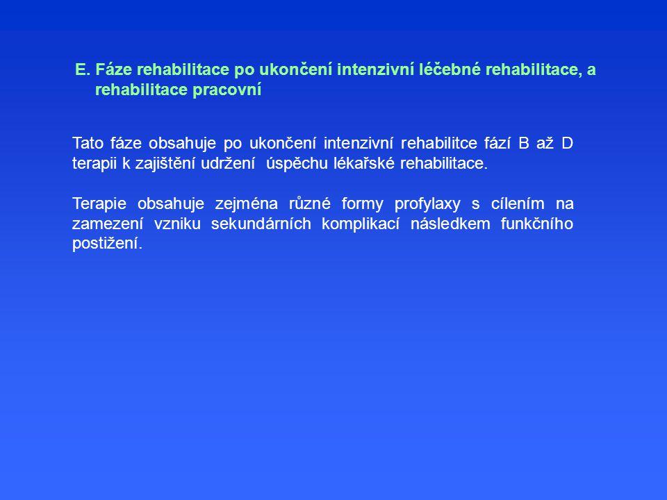 E. Fáze rehabilitace po ukončení intenzivní léčebné rehabilitace, a rehabilitace pracovní Tato fáze obsahuje po ukončení intenzivní rehabilitce fází B