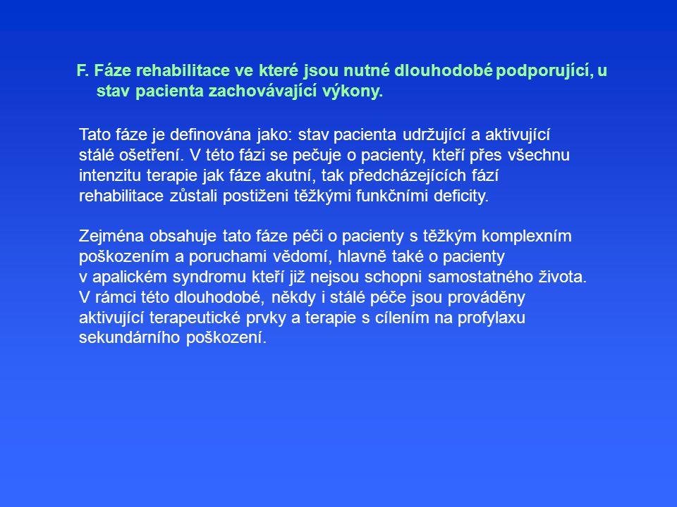 Tato fáze je definována jako: stav pacienta udržující a aktivující stálé ošetření.