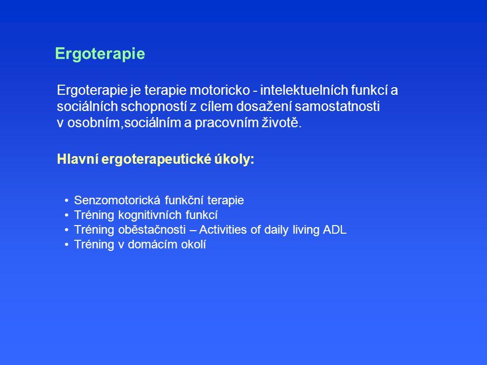 Ergoterapie Ergoterapie je terapie motoricko - intelektuelních funkcí a sociálních schopností z cílem dosažení samostatnosti v osobním,sociálním a pracovním životě.