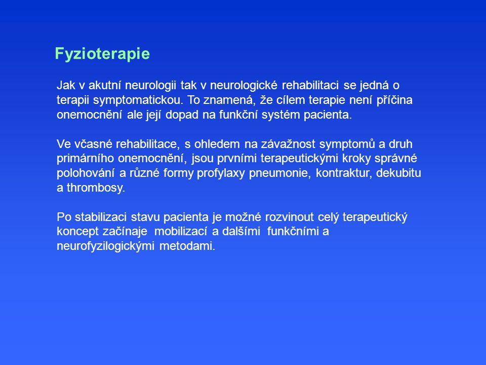 Jak v akutní neurologii tak v neurologické rehabilitaci se jedná o terapii symptomatickou.