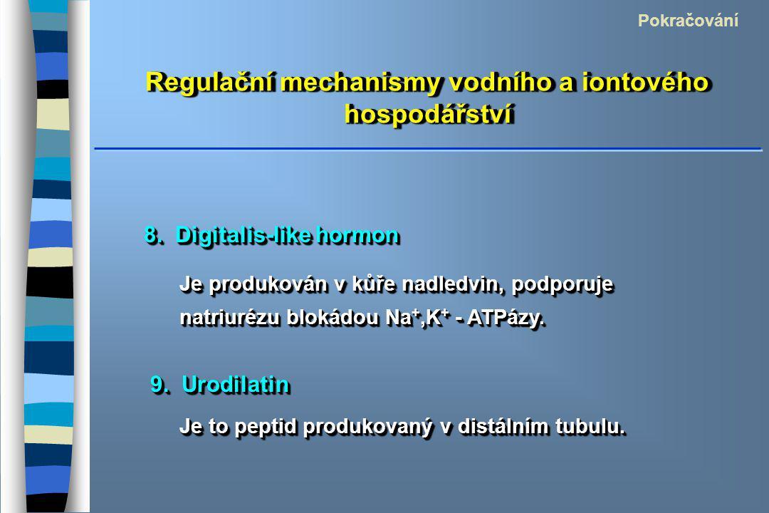 Regulační mechanismy vodního a iontového hospodářství Pokračování 8. Digitalis-like hormon Je produkován v kůře nadledvin, podporuje natriurézu blokád