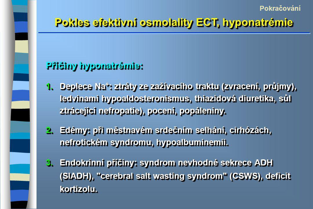 Pokles efektivní osmolality ECT, hyponatrémie Pokračování Příčiny hyponatrémie: 1.Deplece Na + : ztráty ze zažívacího traktu (zvracení, průjmy), ledvinami hypoaldosteronismus, thiazidová diuretika, sůl ztrácející nefropatie), pocení, popáleniny.