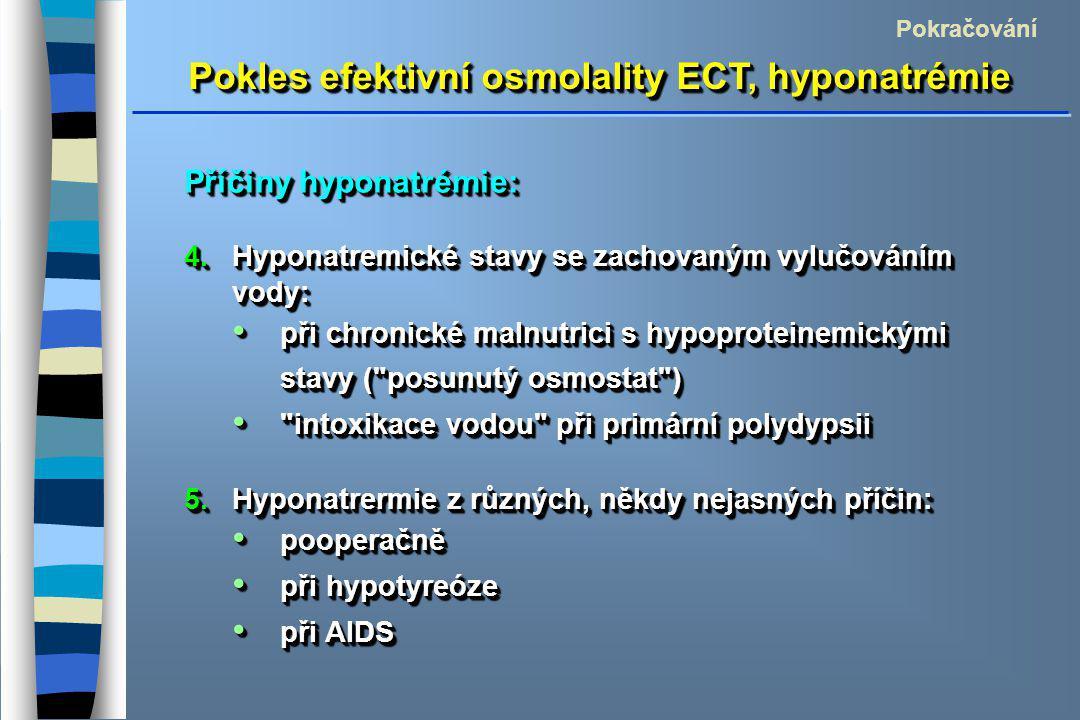 Pokles efektivní osmolality ECT, hyponatrémie Pokračování Příčiny hyponatrémie: 4.Hyponatremické stavy se zachovaným vylučováním vody: při chronické malnutrici s hypoproteinemickými stavy ( posunutý osmostat ) při chronické malnutrici s hypoproteinemickými stavy ( posunutý osmostat ) intoxikace vodou při primární polydypsii intoxikace vodou při primární polydypsii 5.Hyponatrermie z různých, někdy nejasných příčin: pooperačně pooperačně při hypotyreóze při hypotyreóze při AIDS při AIDS Příčiny hyponatrémie: 4.Hyponatremické stavy se zachovaným vylučováním vody: při chronické malnutrici s hypoproteinemickými stavy ( posunutý osmostat ) při chronické malnutrici s hypoproteinemickými stavy ( posunutý osmostat ) intoxikace vodou při primární polydypsii intoxikace vodou při primární polydypsii 5.Hyponatrermie z různých, někdy nejasných příčin: pooperačně pooperačně při hypotyreóze při hypotyreóze při AIDS při AIDS