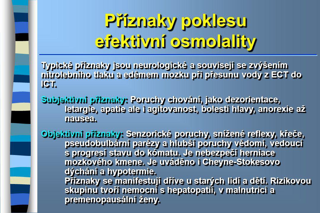Příznaky poklesu efektivní osmolality Příznaky poklesu efektivní osmolality Typické příznaky jsou neurologické a souvisejí se zvýšením nitrolebního tl