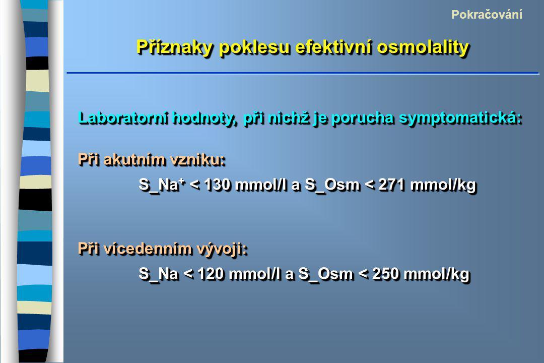Příznaky poklesu efektivní osmolality Pokračování Laboratorní hodnoty, při nichž je porucha symptomatická: Při akutním vzniku: S_Na + < 130 mmol/l a S_Osm < 271 mmol/kg S_Na + < 130 mmol/l a S_Osm < 271 mmol/kg Při vícedenním vývoji: S_Na < 120 mmol/l a S_Osm < 250 mmol/kg S_Na < 120 mmol/l a S_Osm < 250 mmol/kg Laboratorní hodnoty, při nichž je porucha symptomatická: Při akutním vzniku: S_Na + < 130 mmol/l a S_Osm < 271 mmol/kg S_Na + < 130 mmol/l a S_Osm < 271 mmol/kg Při vícedenním vývoji: S_Na < 120 mmol/l a S_Osm < 250 mmol/kg S_Na < 120 mmol/l a S_Osm < 250 mmol/kg