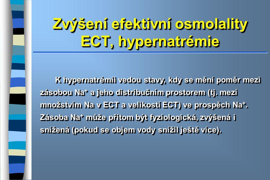 Zvýšení efektivní osmolality ECT, hypernatrémie K hypernatrémii vedou stavy, kdy se mění poměr mezi zásobou Na + a jeho distribučním prostorem (tj.