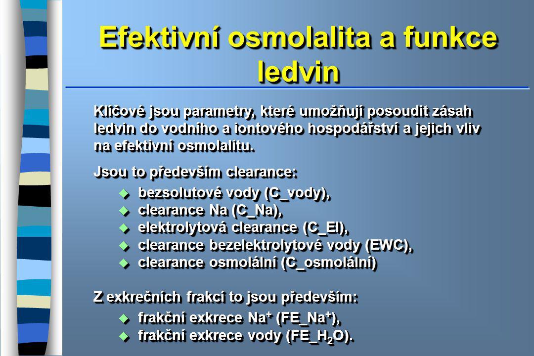 Efektivní osmolalita a funkce ledvin Klíčové jsou parametry, které umožňují posoudit zásah ledvin do vodního a iontového hospodářství a jejich vliv na efektivní osmolalitu.