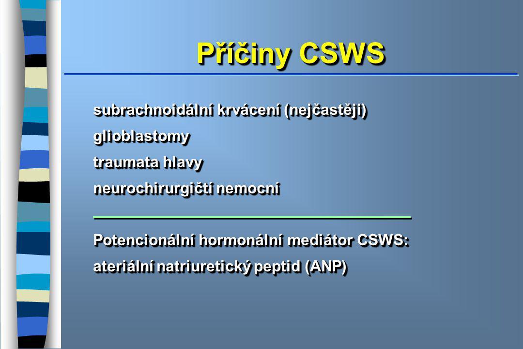 Příčiny CSWS subrachnoidální krvácení (nejčastěji) glioblastomy traumata hlavy neurochirurgičtí nemocní Potencionální hormonální mediátor CSWS: ateriální natriuretický peptid (ANP) subrachnoidální krvácení (nejčastěji) glioblastomy traumata hlavy neurochirurgičtí nemocní Potencionální hormonální mediátor CSWS: ateriální natriuretický peptid (ANP)