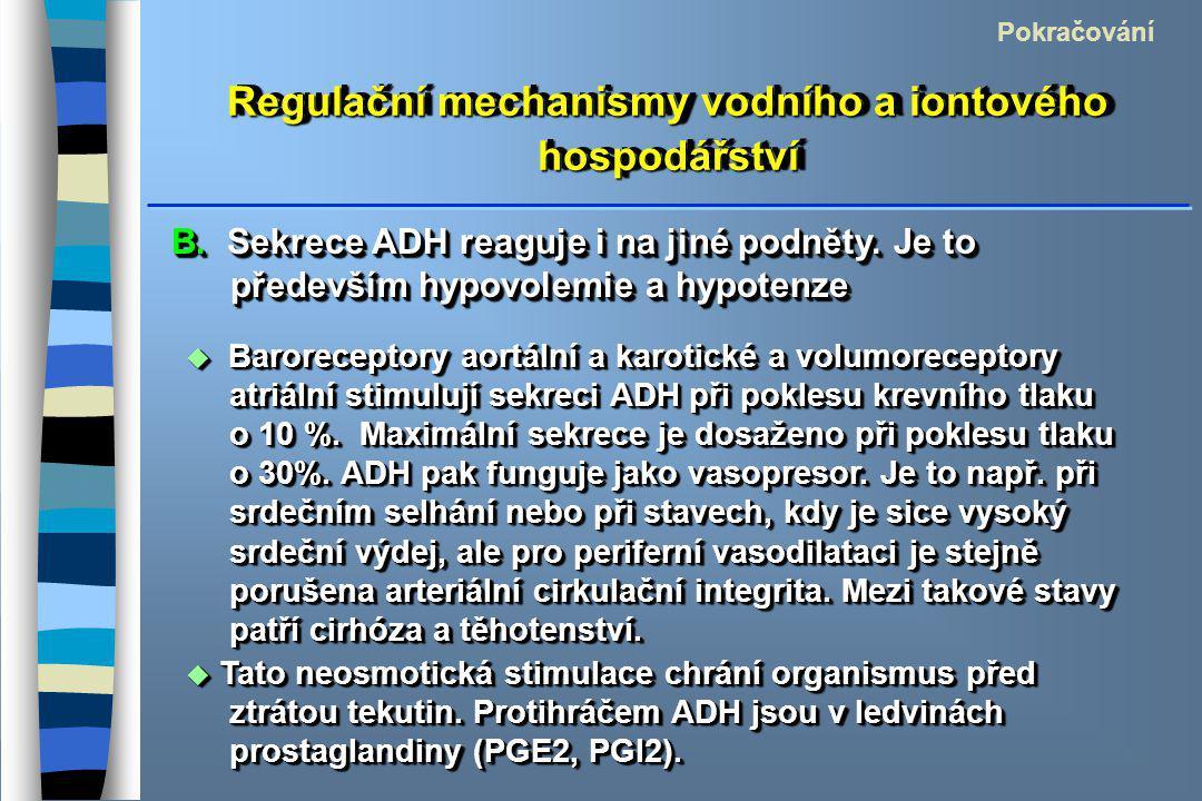 Regulační mechanismy vodního a iontového hospodářství Pokračování  Baroreceptory aortální a karotické a volumoreceptory atriální stimulují sekreci ADH při poklesu krevního tlaku o 10 %.