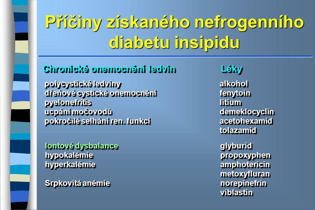 Příčiny získaného nefrogenního diabetu insipidu Chronické onemocnění ledvin Léky polycystické ledviny alkohol dřeňové cystické onemocnění fenytoin pyelonefritis litium ucpání močovodů demeklocyclin pokročilé selhání ren.