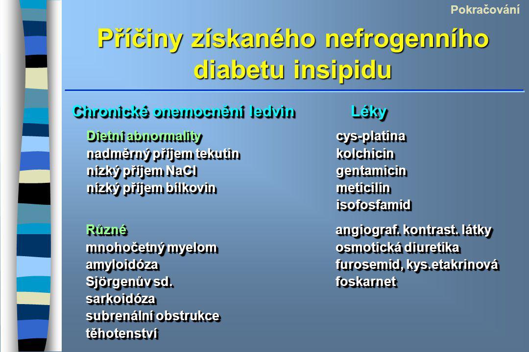 Příčiny získaného nefrogenního diabetu insipidu Chronické onemocnění ledvin Léky Pokračování Dietní abnormalitycys-platina nadměrný příjem tekutinkolchicin nízký příjem NaClgentamicin nízký příjem bílkovinmeticilin isofosfamid Dietní abnormalitycys-platina nadměrný příjem tekutinkolchicin nízký příjem NaClgentamicin nízký příjem bílkovinmeticilin isofosfamid Různéangiograf.
