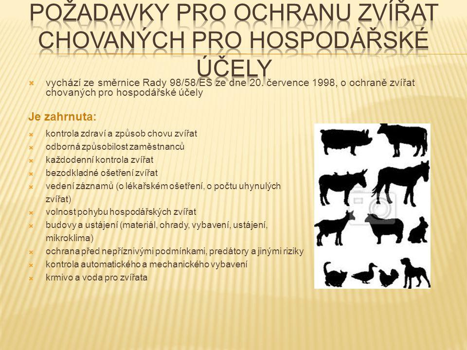  vychází ze směrnice Rady 98/58/ES ze dne 20. července 1998, o ochraně zvířat chovaných pro hospodářské účely Je zahrnuta:  kontrola zdraví a způsob