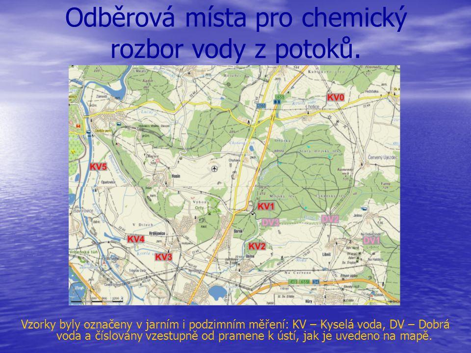 Odběrová místa pro chemický rozbor vody z potoků.
