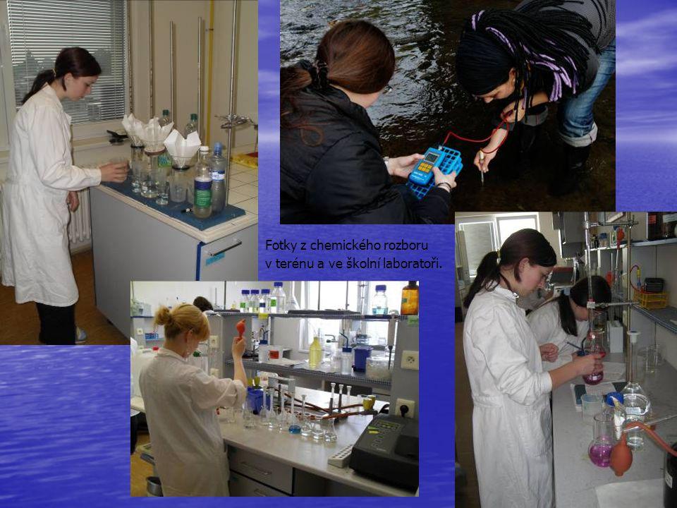 Fotky z chemického rozboru v terénu a ve školní laboratoři.