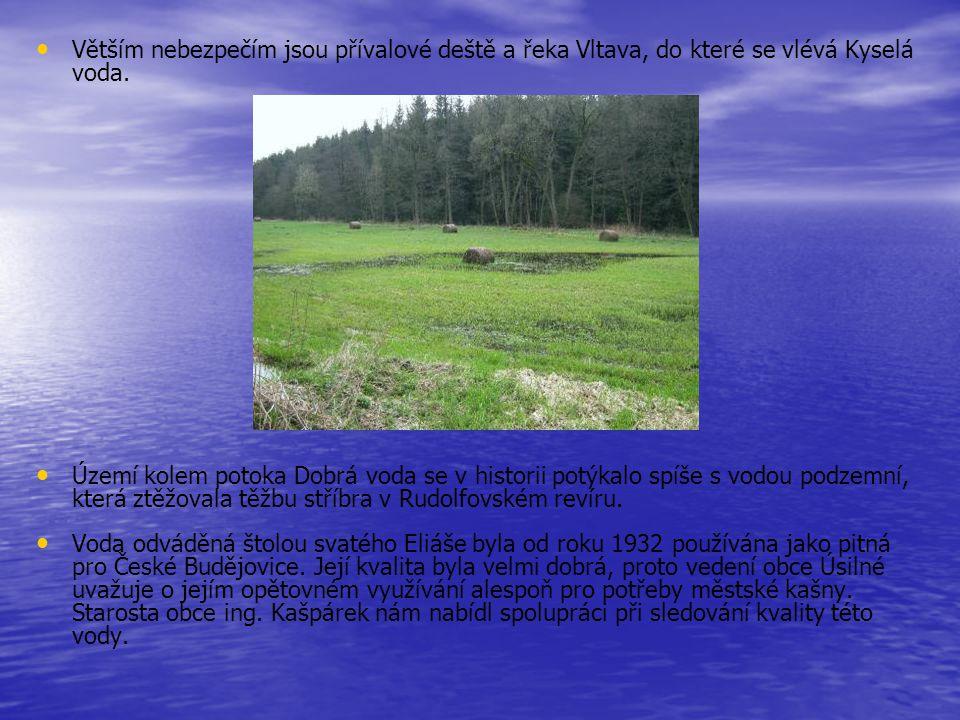 Větším nebezpečím jsou přívalové deště a řeka Vltava, do které se vlévá Kyselá voda. Území kolem potoka Dobrá voda se v historii potýkalo spíše s vodo