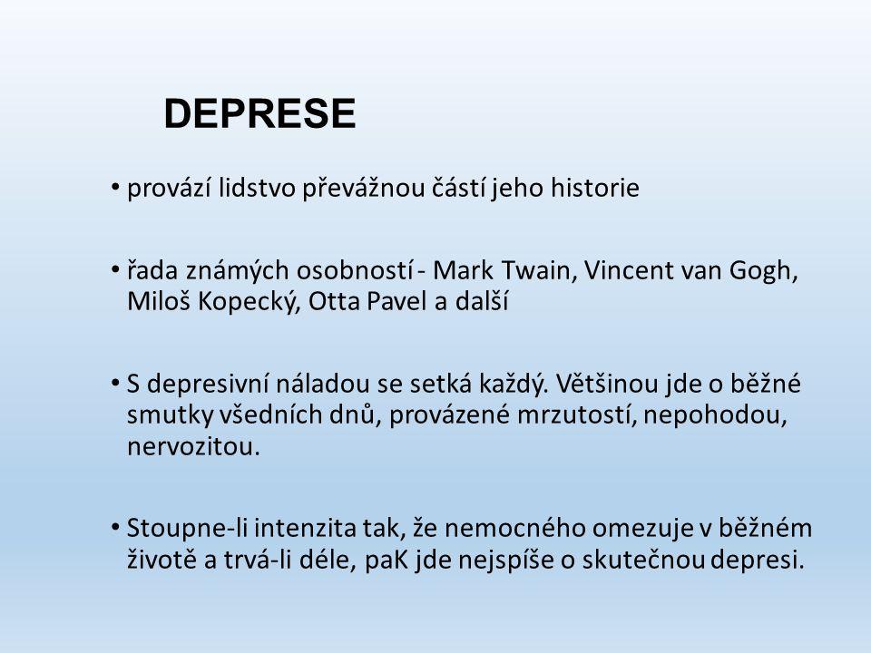 DEPRESE provází lidstvo převážnou částí jeho historie řada známých osobností - Mark Twain, Vincent van Gogh, Miloš Kopecký, Otta Pavel a další S depre