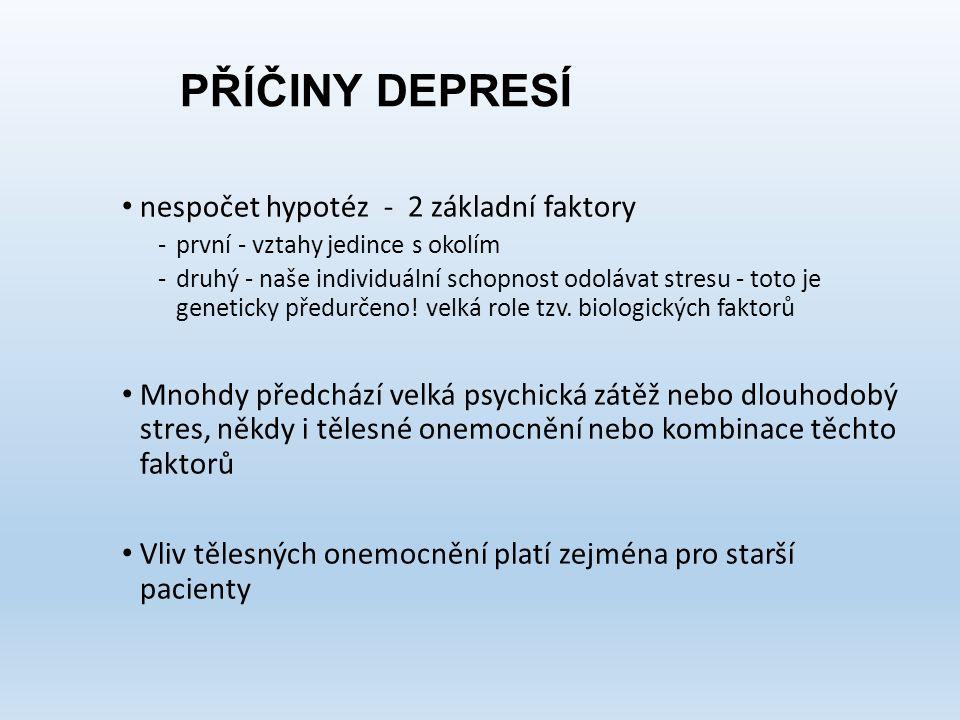 PŘÍČINY DEPRESÍ nespočet hypotéz - 2 základní faktory -první - vztahy jedince s okolím -druhý - naše individuální schopnost odolávat stresu - toto je