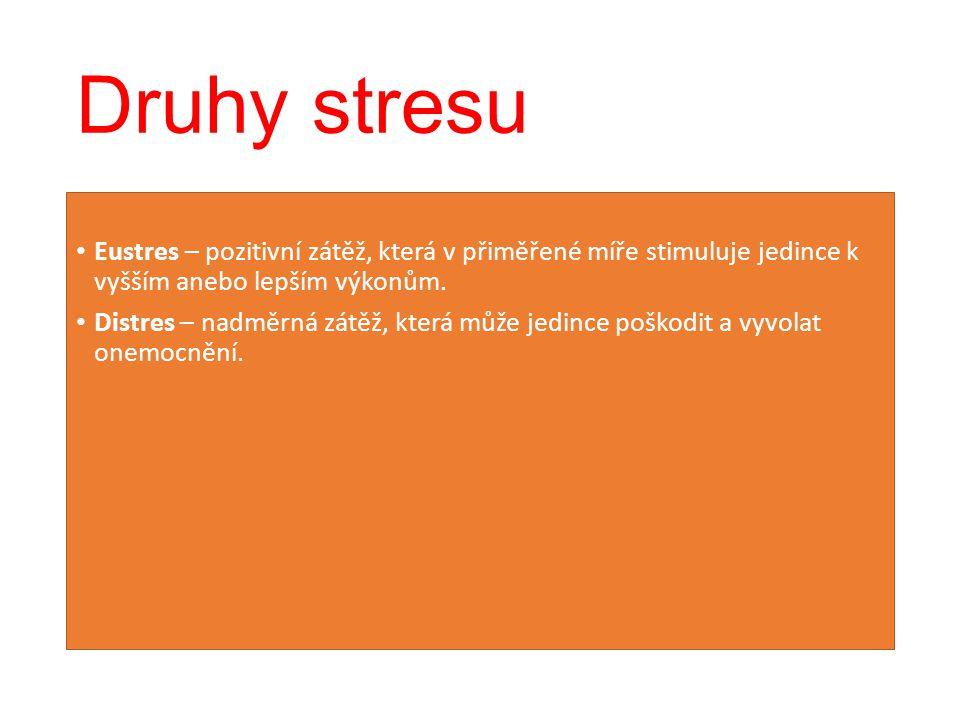 Druhy stresu Eustres – pozitivní zátěž, která v přiměřené míře stimuluje jedince k vyšším anebo lepším výkonům. Distres – nadměrná zátěž, která může j