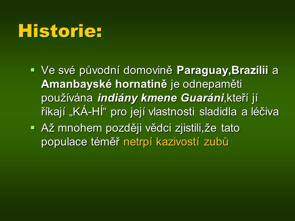 """Historie:Historie:  Ve své původní domovině Paraguay,Brazílii a Amanbayské hornatině je odnepaměti používána indiány kmene Guaráni,kteří jí říkají """"K"""
