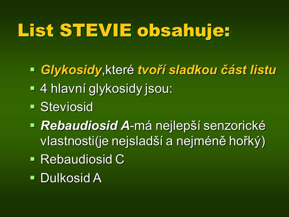 List STEVIE obsahuje:  Glykosidy,které tvoří sladkou část listu  4 hlavní glykosidy jsou:  Steviosid  Rebaudiosid A-má nejlepší senzorické vlastno
