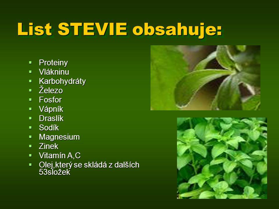 List STEVIE obsahuje:  Proteiny  Vlákninu  Karbohydráty  Železo  Fosfor  Vápník  Draslík  Sodík  Magnesium  Zinek  Vitamín A,C  Olej,který