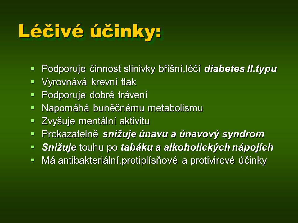 Léčivé účinky:  Je vynikající na zranění  Nahrazuje všechna umělá sladidla  Na rozdíl od umělých sladidel nemá karcinogenní účinky  Na rozdíl od bílého cukru nepřispívá k artróze  Neukládá se v těle v podobě tuku