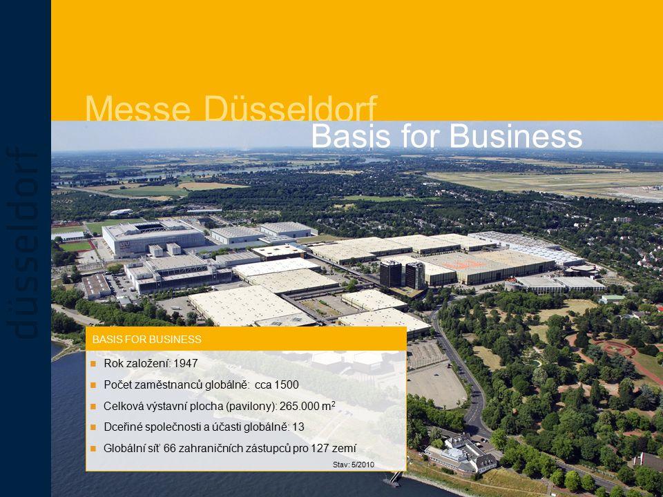 Messe Düsseldorf BASIS FOR BUSINESS Basis for Business Rok založení: 1947 Počet zaměstnanců globálně: cca 1500 Celková výstavní plocha (pavilony): 265.000 m 2 Dceřiné společnosti a účasti globálně: 13 Globální síť 66 zahraničních zástupců pro 127 zemí Stav: 5/2010