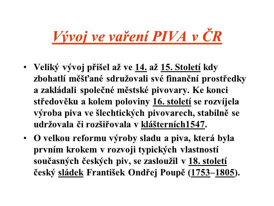Něco o původu PIVA Princip přípravy je po staletí stejný, ale postupně se významně zdokonalovaly jednotlivé technologické kroky a zařízení.