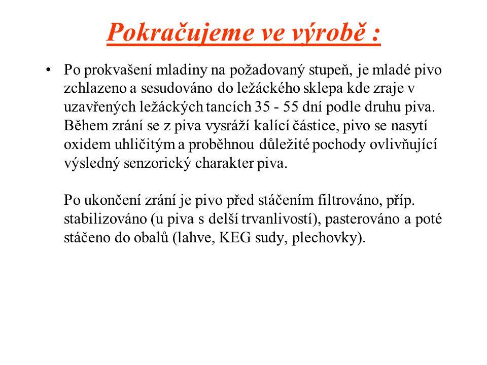 Výroba PIVA Základními surovinami pro výrobu piva českého typu jsou pitná voda, ječný slad plzeňského typu a chmel.