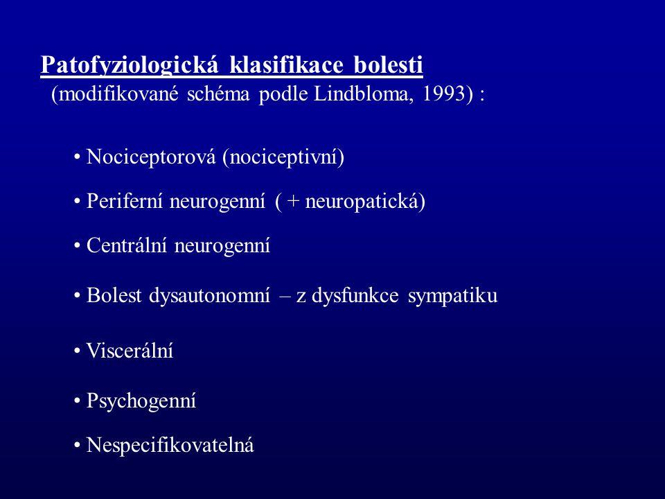 Patofyziologická klasifikace bolesti (modifikované schéma podle Lindbloma, 1993) : Nociceptorová (nociceptivní) Periferní neurogenní ( + neuropatická) Centrální neurogenní Bolest dysautonomní – z dysfunkce sympatiku Viscerální Psychogenní Nespecifikovatelná
