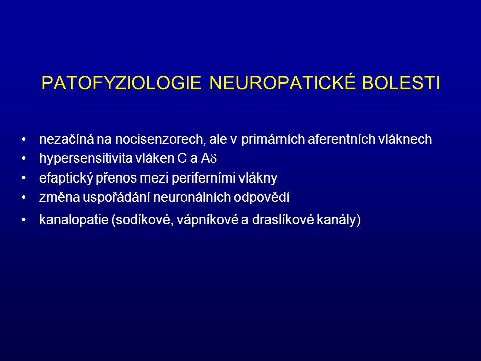 PATOFYZIOLOGIE NEUROPATICKÉ BOLESTI nezačíná na nocisenzorech, ale v primárních aferentních vláknech hypersensitivita vláken C a A  efaptický přenos mezi periferními vlákny změna uspořádání neuronálních odpovědí kanalopatie (sodíkové, vápníkové a draslíkové kanály)