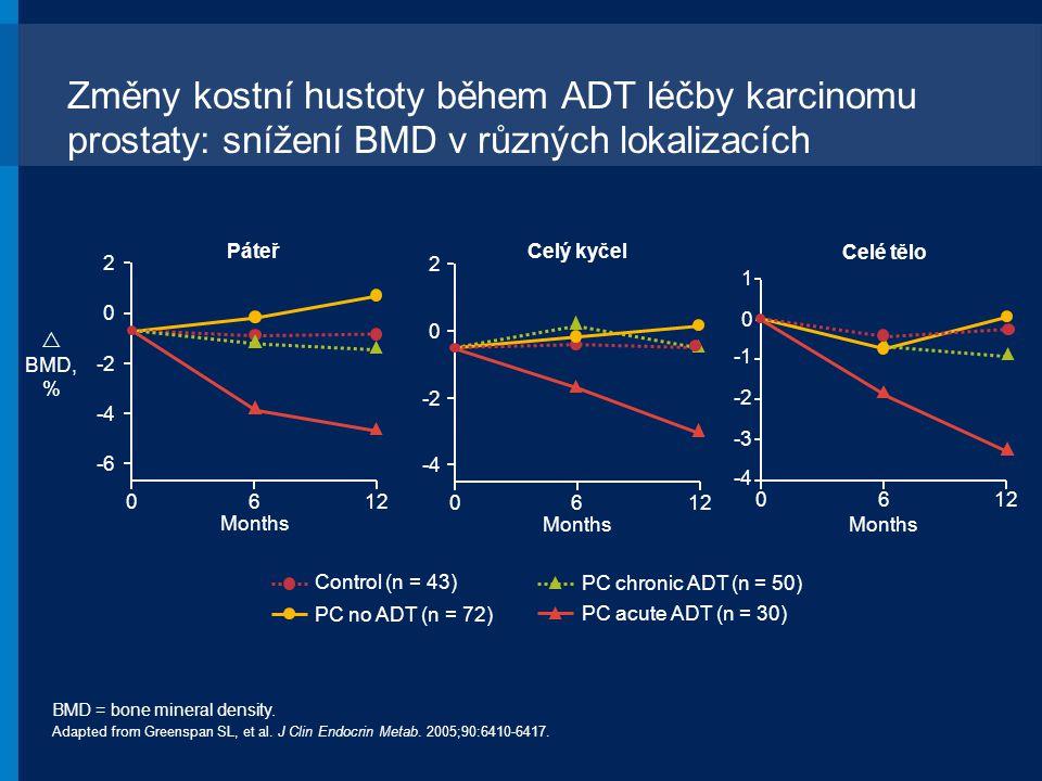 Změny kostní hustoty během ADT léčby karcinomu prostaty: snížení BMD v různých lokalizacích BMD = bone mineral density. Adapted from Greenspan SL, et