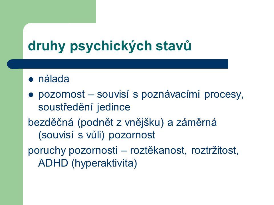 druhy psychických stavů nálada pozornost – souvisí s poznávacími procesy, soustředění jedince bezděčná (podnět z vnějšku) a záměrná (souvisí s vůli) p