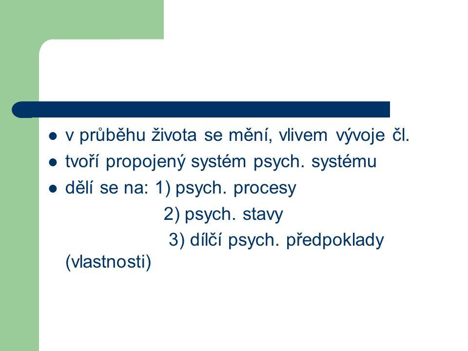 v průběhu života se mění, vlivem vývoje čl. tvoří propojený systém psych. systému dělí se na: 1) psych. procesy 2) psych. stavy 3) dílčí psych. předpo