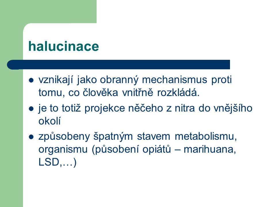 halucinace vznikají jako obranný mechanismus proti tomu, co člověka vnitřně rozkládá. je to totiž projekce něčeho z nitra do vnějšího okolí způsobeny