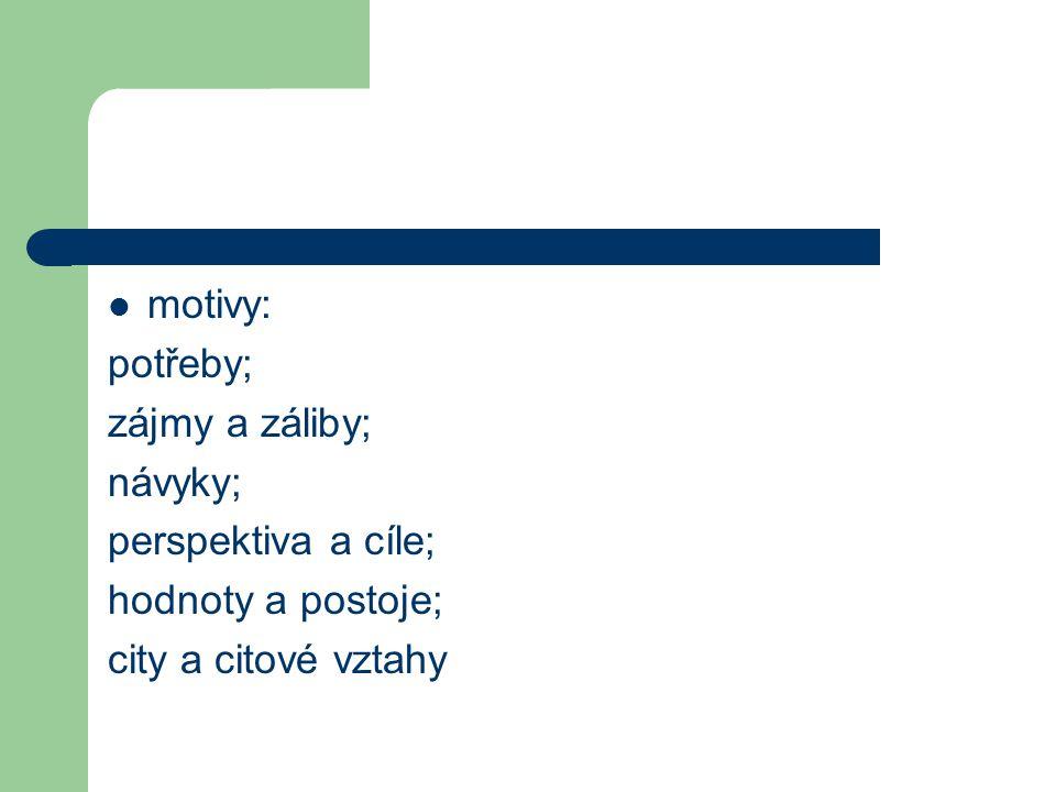 motivy: potřeby; zájmy a záliby; návyky; perspektiva a cíle; hodnoty a postoje; city a citové vztahy
