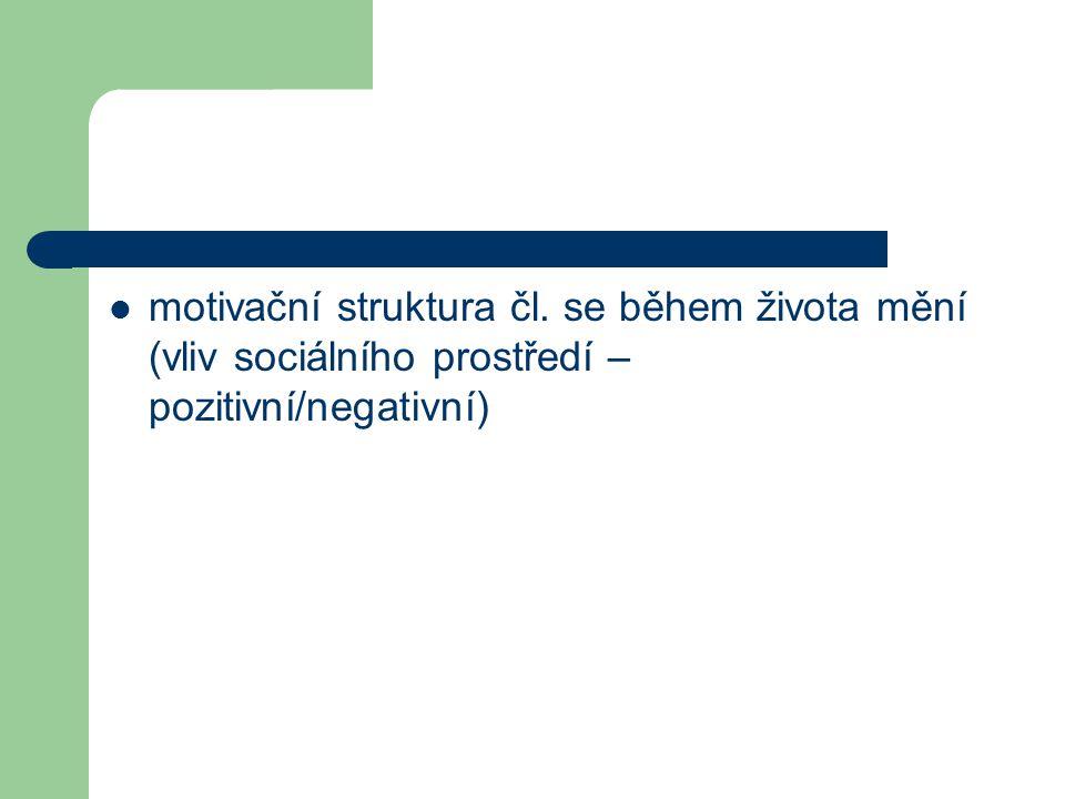 motivační struktura čl. se během života mění (vliv sociálního prostředí – pozitivní/negativní)