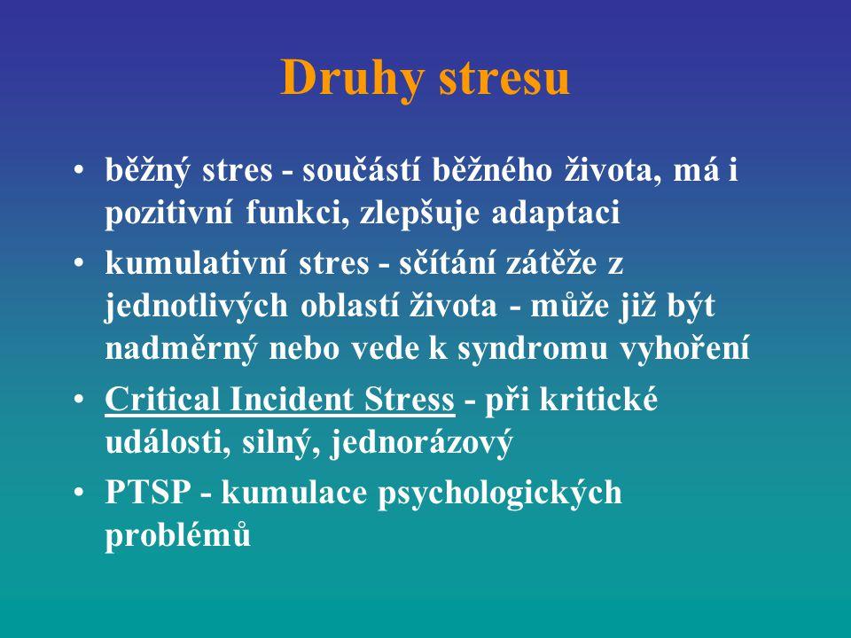 Druhy stresu běžný stres - součástí běžného života, má i pozitivní funkci, zlepšuje adaptaci kumulativní stres - sčítání zátěže z jednotlivých oblastí
